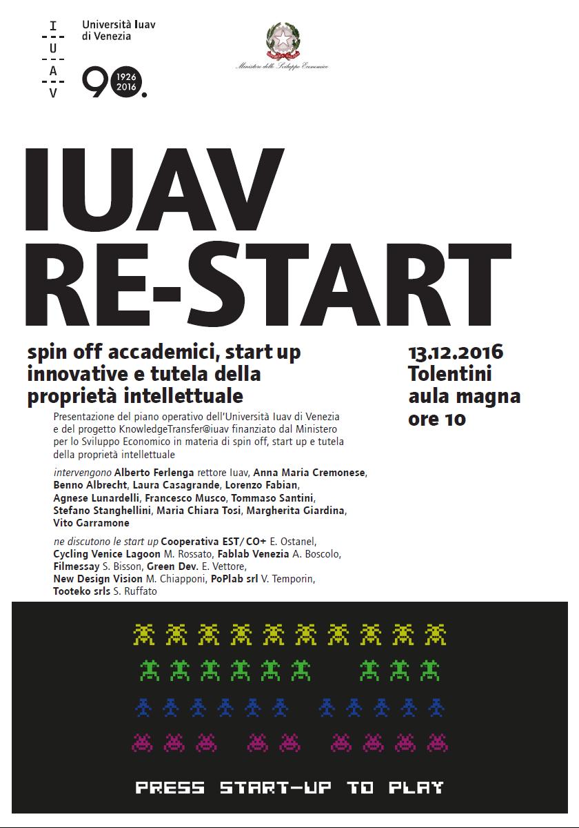 Foto IUAV RE-START Spin off accademici, start up innovative e tutela della proprietà intellettuale