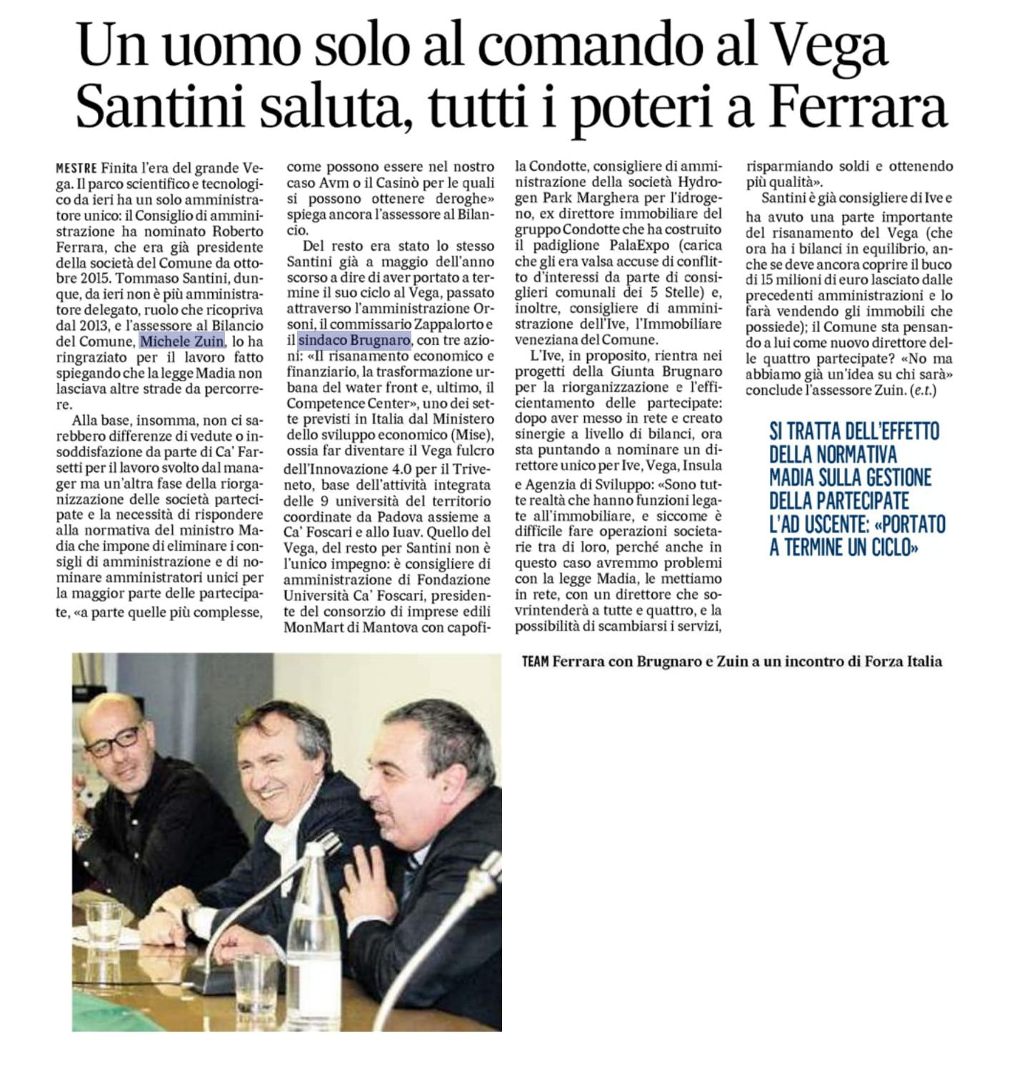 Foto Roberto Ferrara nominato Amministratore Unico di VEGA