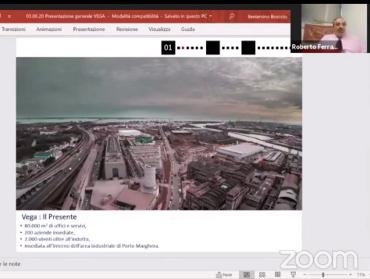 Foto Intervento di Roberto Ferrara, Amministratore Unico di VEGA, durante una videoconferenza