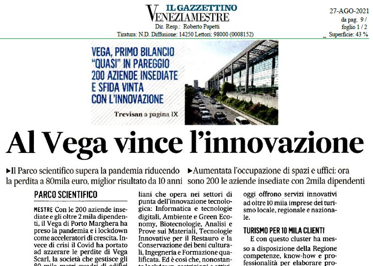 Foto Al VEGA vince l'innovazione – articoli pubblicati su Il Gazzettino e La Nuova Venezia